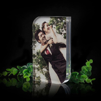 Pack 10 Units Round Corner Clear Acrylic Photo Frames Block With Magnetic PF004