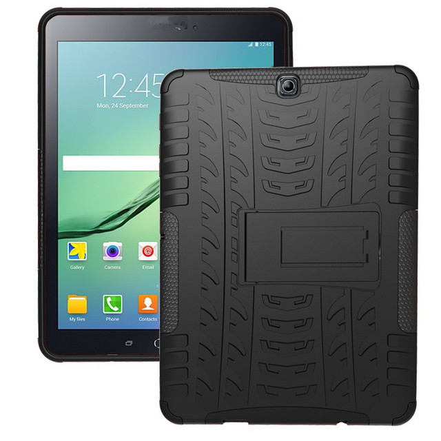 Tire Style Tough Rugged Dual Layer Hybrid Hard Stand Duty Armor Tablet Case For Samsung Galaxy Tab S2 9.7 T810 T815