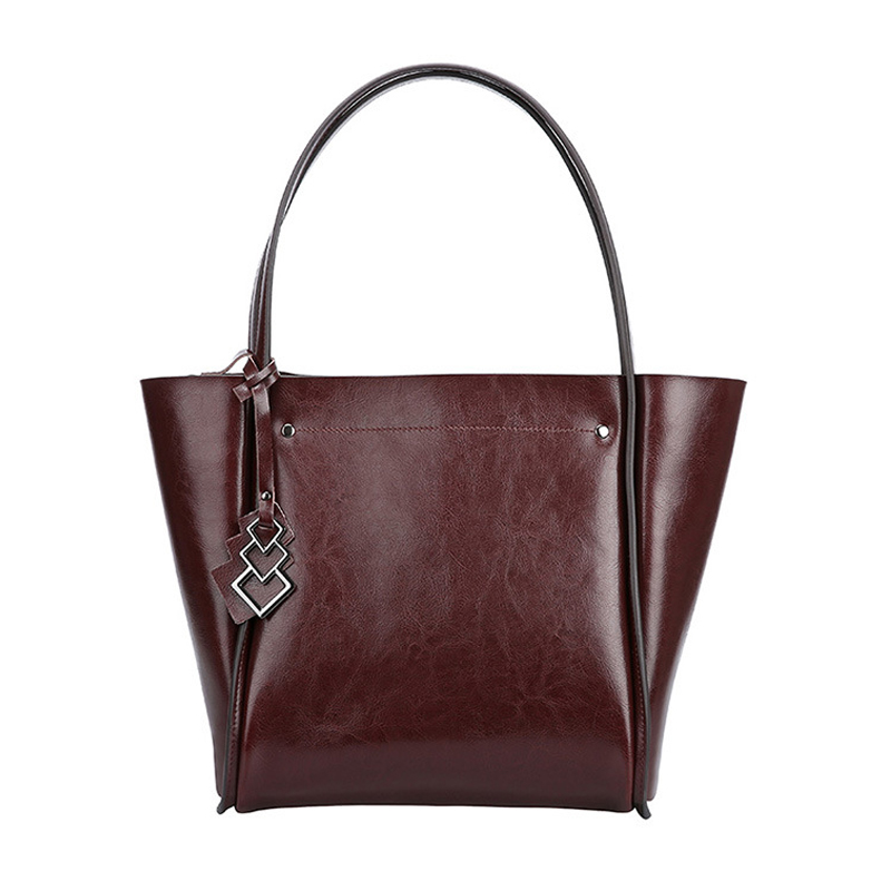 Fashion Woman Soft Genuine Leather Large Capacity Top-handle Bag Female Travel Cowhide Zipper Totes Solid Color Shoulder Bags