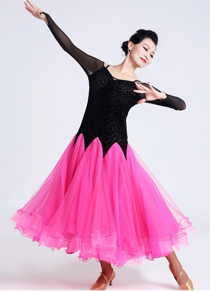 adult green Modern Tango Dress Short Sleeves Standard Ballroom Dress Cotton Womens Ballroom Dance Dresses Long Mesh Sleeve