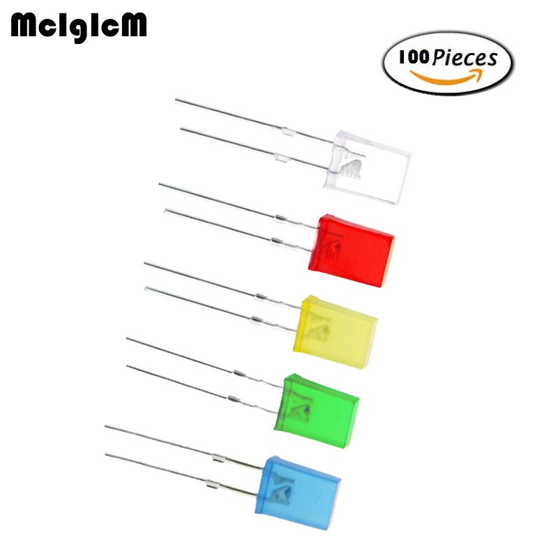 MCIGICM 100pcs Red Light-emitting Diodes Red Turn Red White Blue Green Yellow 2*5*7 Square Led
