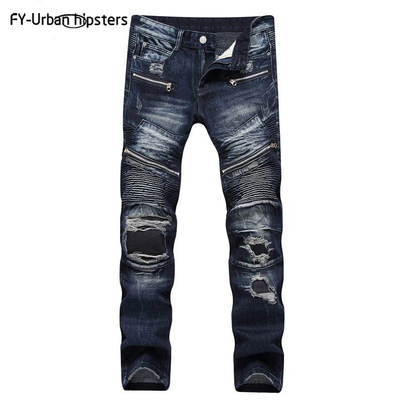 100% QualitäT 2018 Herren Ripped Jeans Blau Lässige Zipper Männer Jeans Hohe Qualität Denimstraight Große Größe Jeans Für Männer Gewaschen Baumwolle Denim Hose Elegant Im Geruch