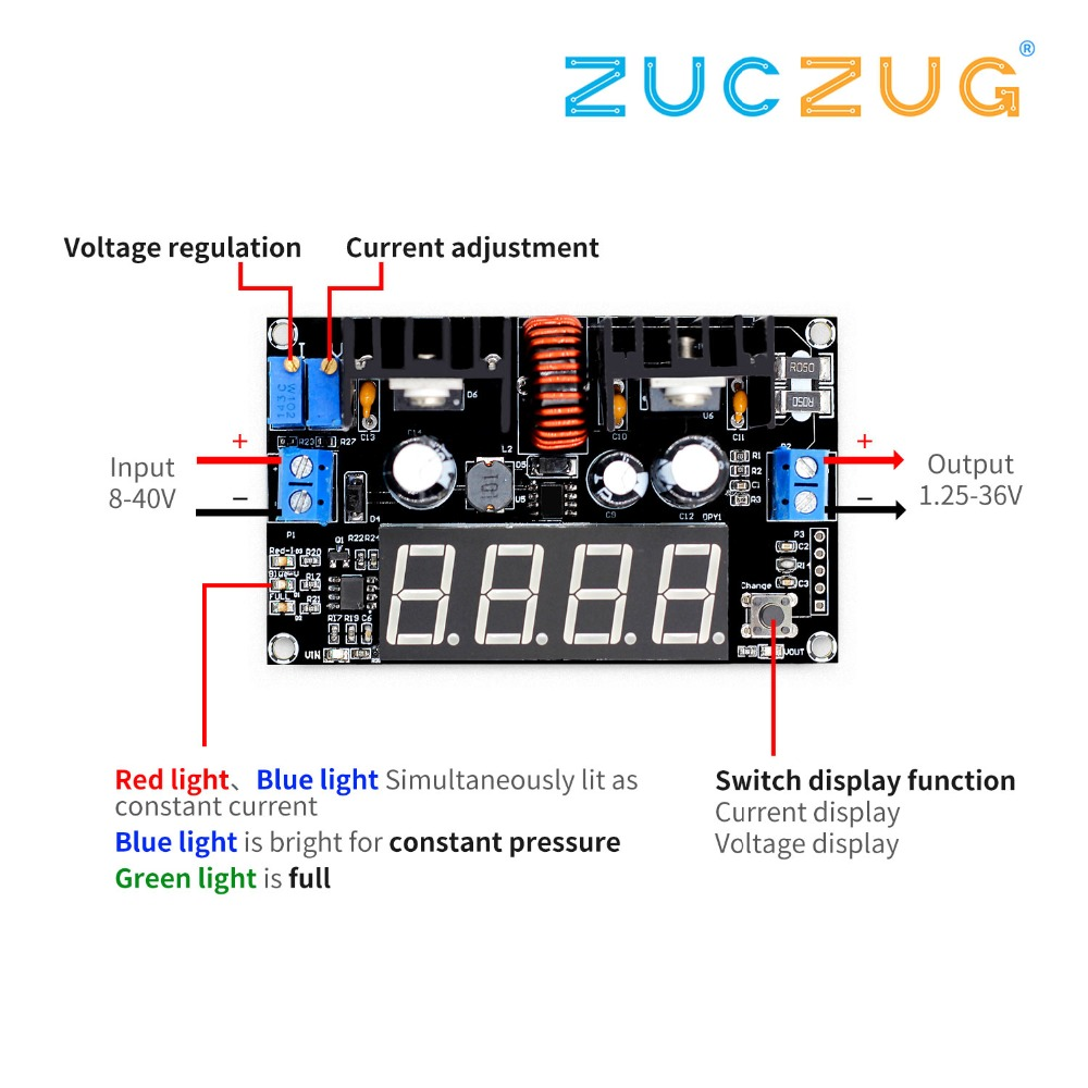 VHM-101 Digital display DC 8A 180W Adjustable CC CV Step-down Power Supply Battery Charging Module Voltage ammeter LED Driver