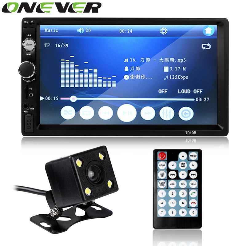 Onever 2 din 7 inch Bluetooth Car MP4 Player HD Touch Screen Support Rear View Camera