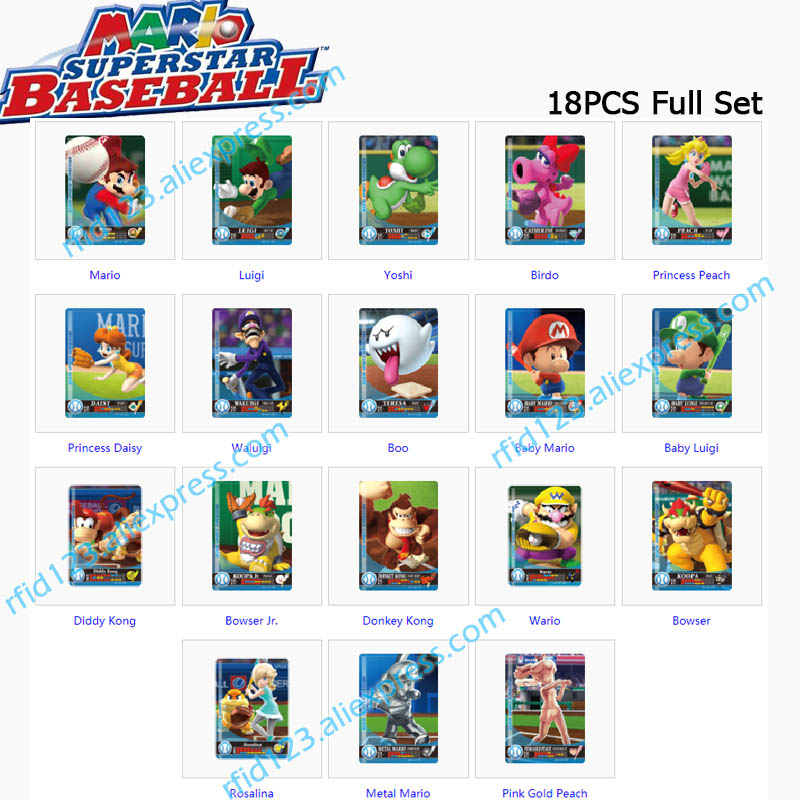 NFC Printing Card Work For Mario Sports Superstars Mario Baseball 18pcs Full Set