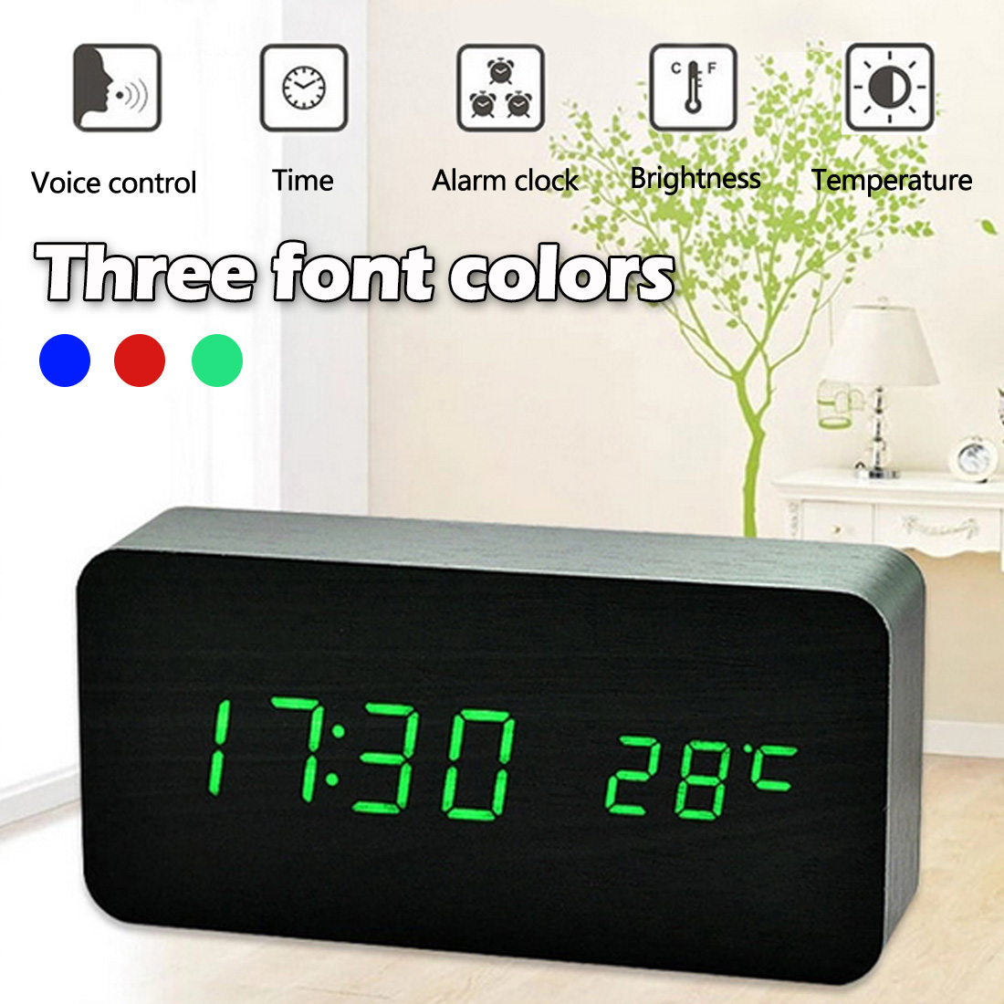 Devoted Wooden Led Temperature Control Electronic Clock Sound Control Digital Led Display Desktop Creative Wooden Table Clock Home & Garden