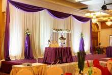 Top selling 20ft*10ft white-purple elegance wedding backdrops , stage backdrops