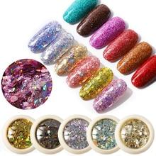 6pcs/set Nail Mermaid Glitter Flakes Sparkly 3D Hexagon Colo