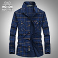 Autumn 2016 Plaid Men Shirt Loose Plus Size 5XL long sleeve 100% Cotton Original Brand AFS JEEP Camisa Masculina Shirts