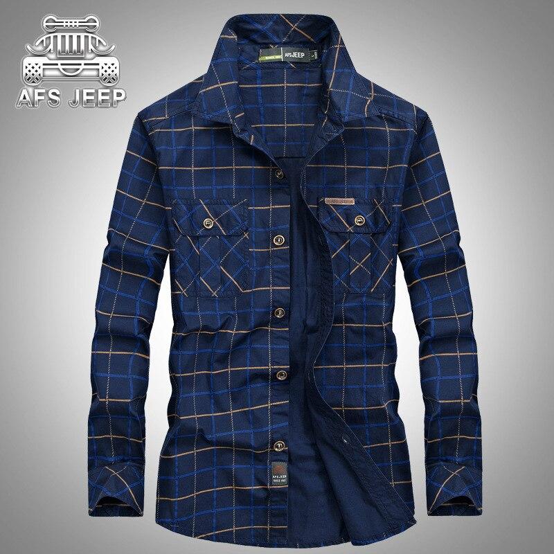 Autumn 2017 Plaid Men Shirt Loose Plus Size 5XL Long Sleeve 100% Cotton Original Brand AFS JEEP Camisa Masculina Shirts