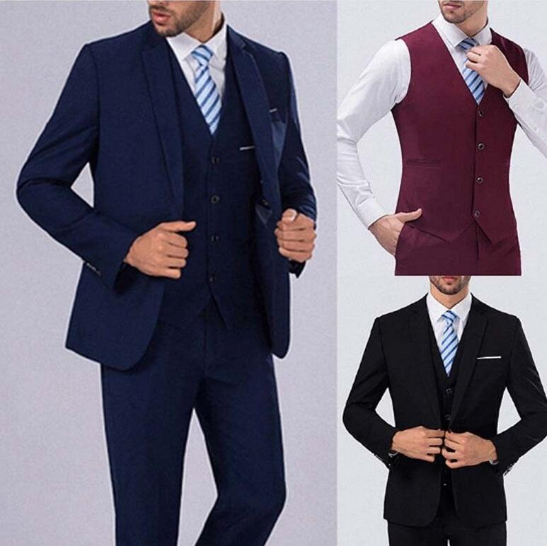 3Pcs Set Mens Wedding Dress Slim Fit Suit Business Formal Men's Clothing Suits D47