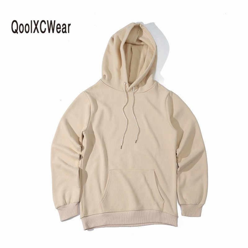QoolXCWear Hoodie Hip Hop Sokak giyim Tişörtü Kaykay Erkekler/Kadın Kazak Hoodies kahverengi/siyah/Ordu yeşil/ haki Erkek Hoodie