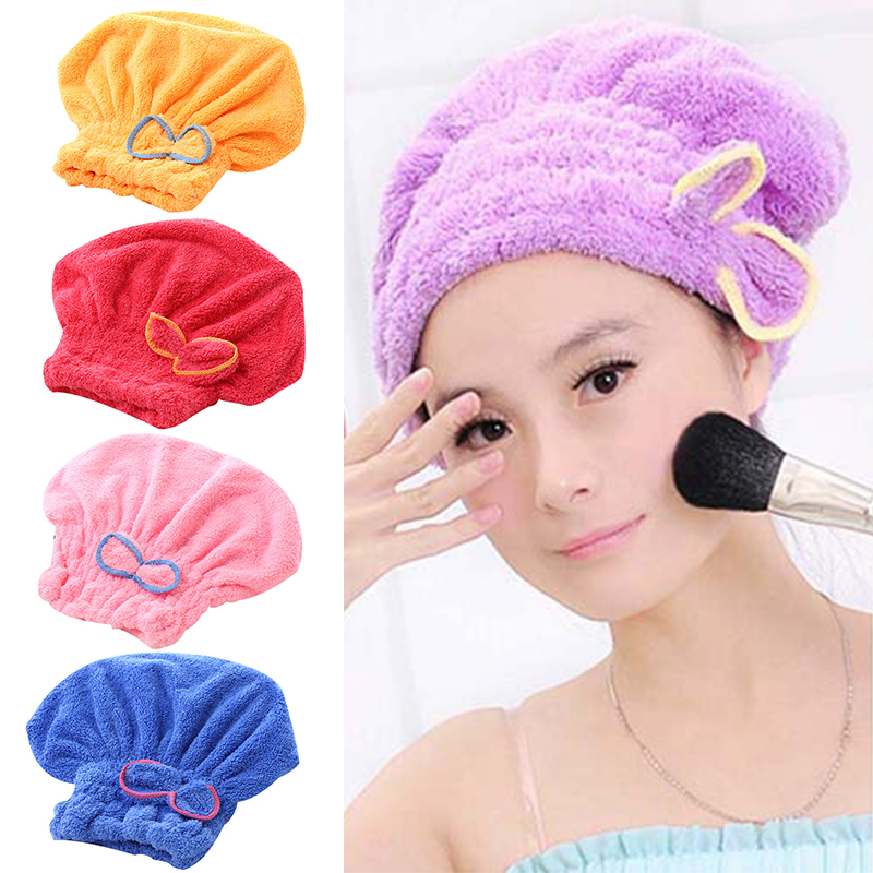 Radient Microfiber Quick Drying Hair-drying Towel Bowknot Coral Velvet Bath Cap Strong Water Absorption Hair Dry Shower Bath Hat Tool Volume Large Beauty & Health