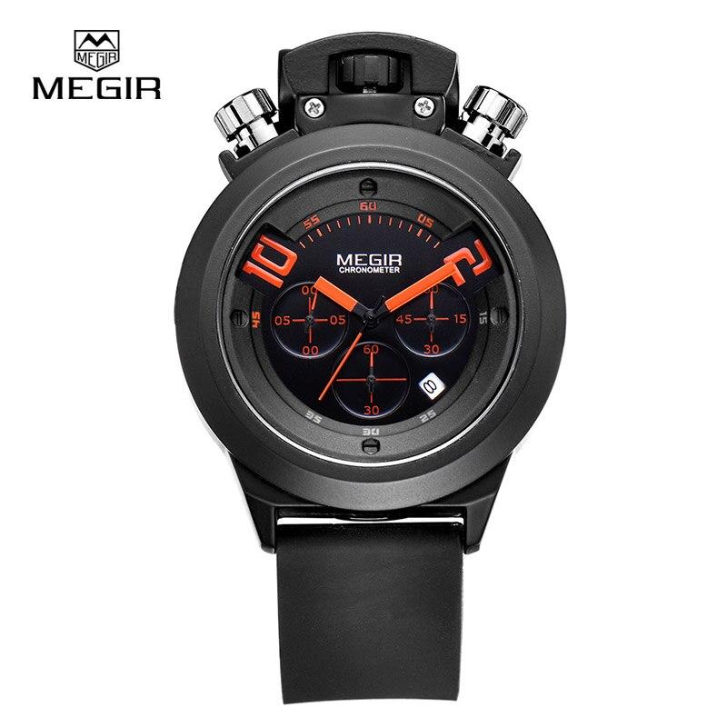 Megir Fashion Hot Men's Quartz Watches Analog Chornograph Brand Wristwatch Man Silicone Band Waterproof Hour 2004 Free Shipping