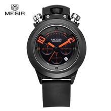 Megir fashion hot mens quartz watches analog chornograph brand wristwatch man silicone band waterproof hour 2004 free shipping