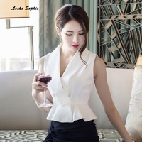 1pcs Ladies Plus Size Sexy Blouses Tops 2018 Summer Cotton Blend Splicing Sleeveless Primer Shirt Women