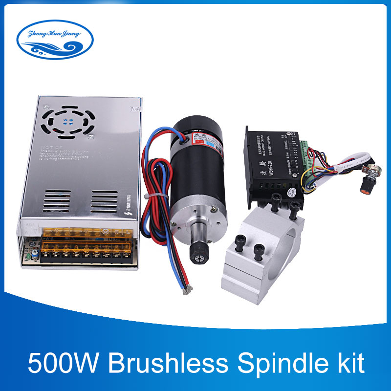500W CNC Brushless Spindle Motor ER11 ER16 Collect Milling Machine 55mm Clamp Stepper Motor Driver Switching