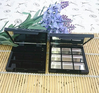 wholesale 9 Grids Empty Eye Shadow with Mirror, Aluminum Black Palette Pans, Makeup Tool, Cosmetic DIY High Quality Plastic Box