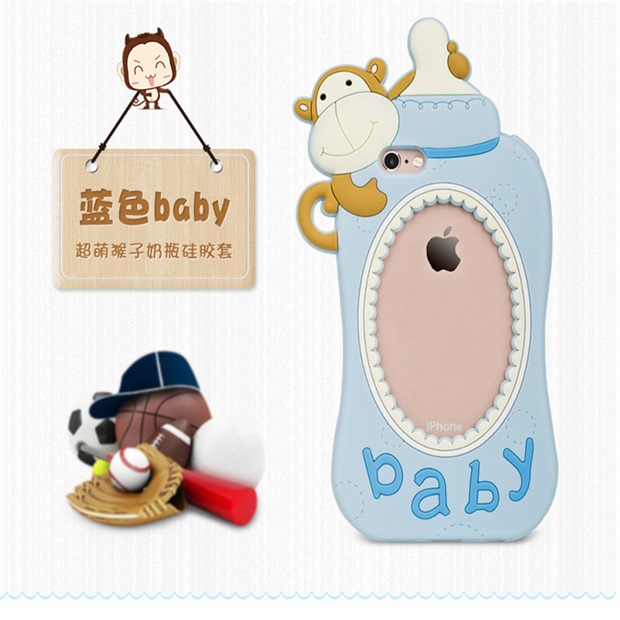 newest 3D Hollow soft silicone case For Iphone 7 8 6 6s plus cute cartoon animal monkey milk baby feeding bottle nipple cover