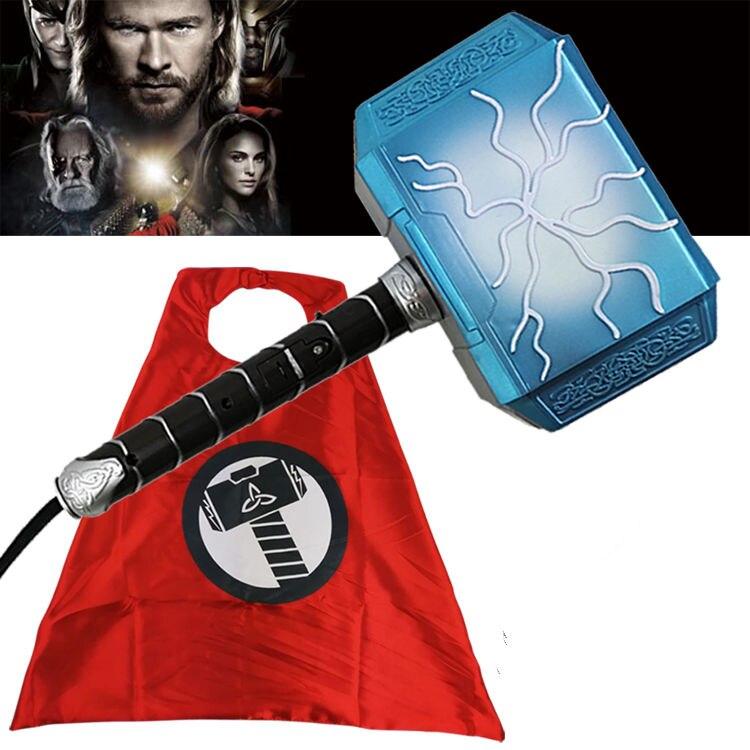 Aliança Thor dos Vingadores Série Brinquedo Luminoso Voz Martelo De Thor Cosplay Cape