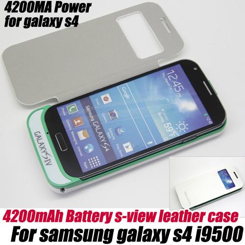 3200 mah banco de la energía de batería externa cubierta del caso del tirón para samsung galaxy s4 i9500, envío libre