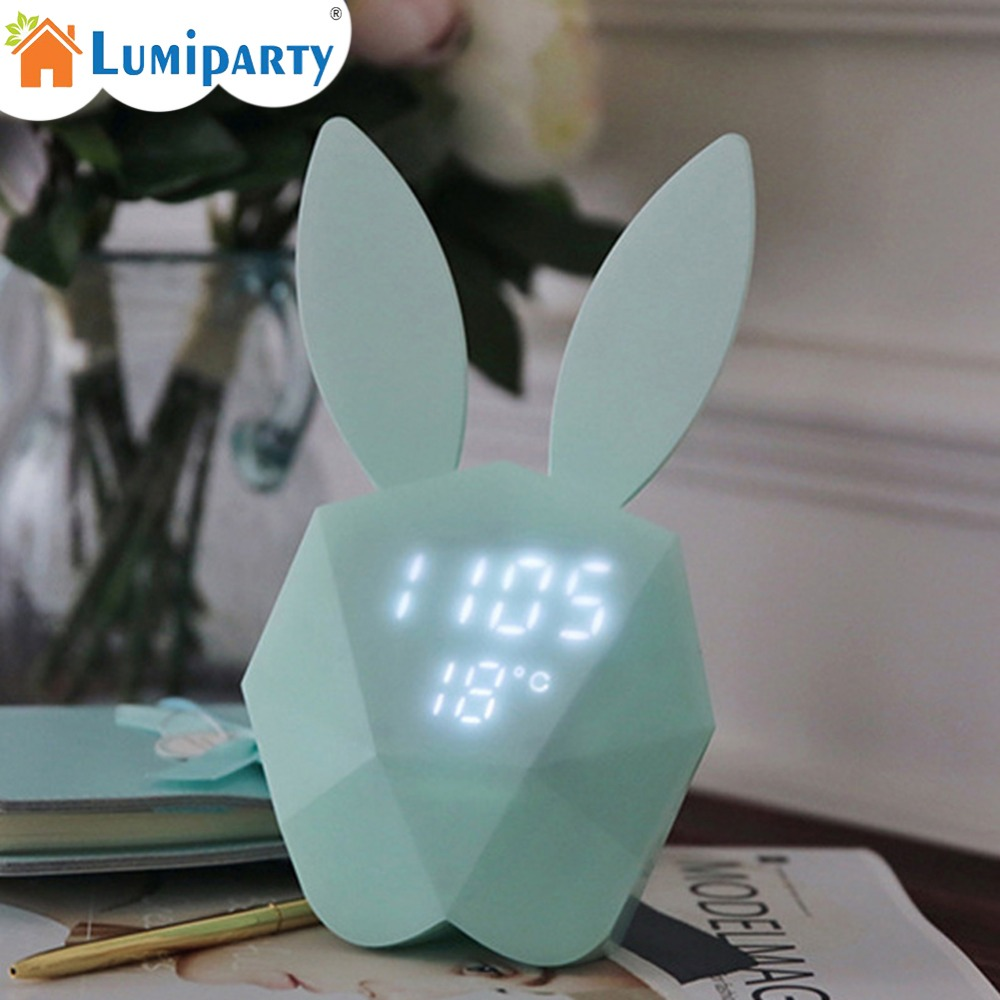 LumiParty Multiple Function Magnetic Rechargeable Bunny Alarm Clock Night Lamp Wall Lamp Table Light with Music Thermometer Gift