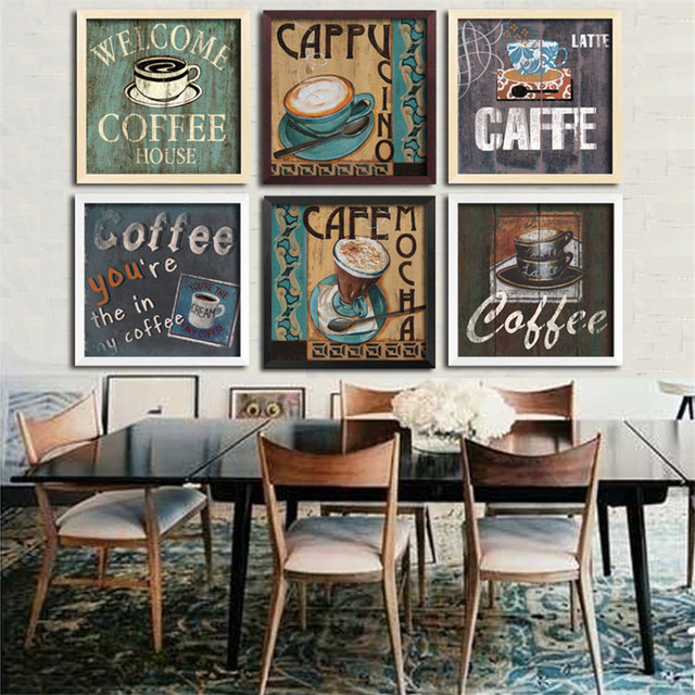Theme coffee creative dinner cafe wall decoration canvas for Wine shop decoration