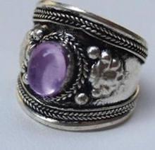 Tribal étnico Nepal joyas de cristal de color púrpura anillo