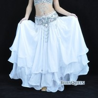 High Quality Belly Dance Clothes Baru Leafroll Double Slit Ear Chiffon Belly Dancing Skirt For Women