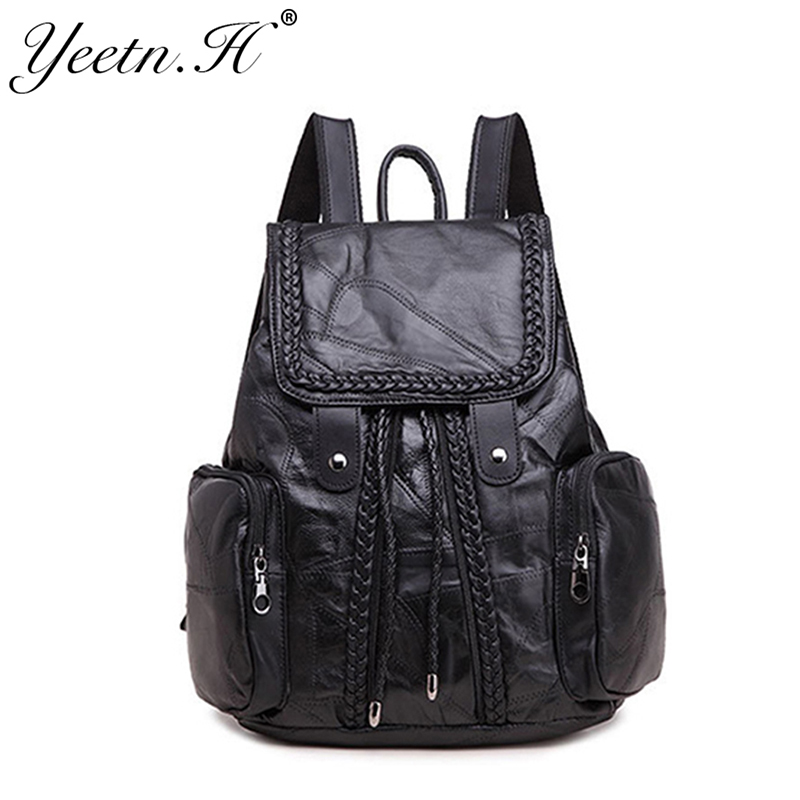 ФОТО 2017 New Arrival  Fashion Genuine Leather Women Solid Softback   Backpacks For Girl  Black Color Cool Should Bags A1412
