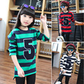 letter striped thick kids t-shirts for girls long sleeve tops clothes teen girls sweater clothing children new 2016 winter tops