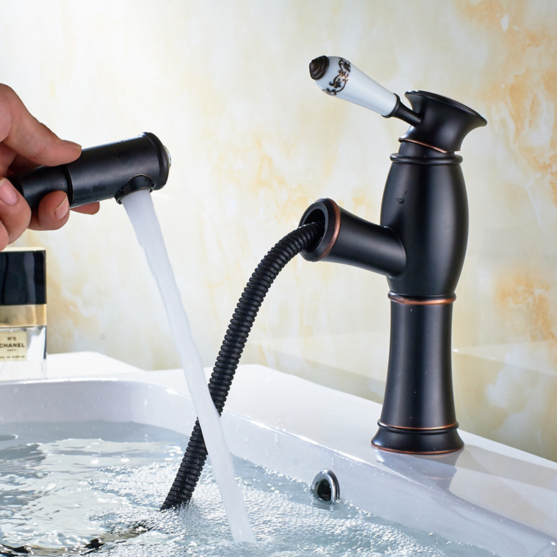 Retro Europe Style Hot Cold Water Basin Faucet Mixer Bathroom Black Faucet Pull Out with Diamond on Spout карабин black diamond black diamond rocklock twistlock