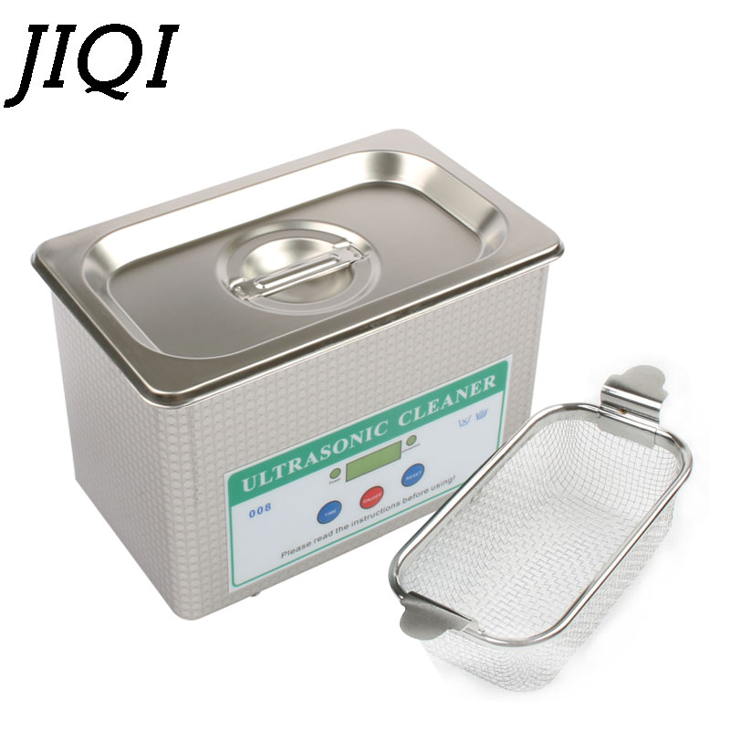 JIQI Ultrasonic Cleaner Stainless Steel Washing Bath Machine Glasses Jewelry Watch Denture Mini Ultrasound Wave Cleaning Tank EU