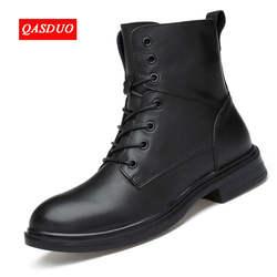 QASDUO Высокое качество Натуральная кожа осенние мужские ботинки Зимние непромокаемые ботильоны ботинки martin уличные рабочие ботинки мужская