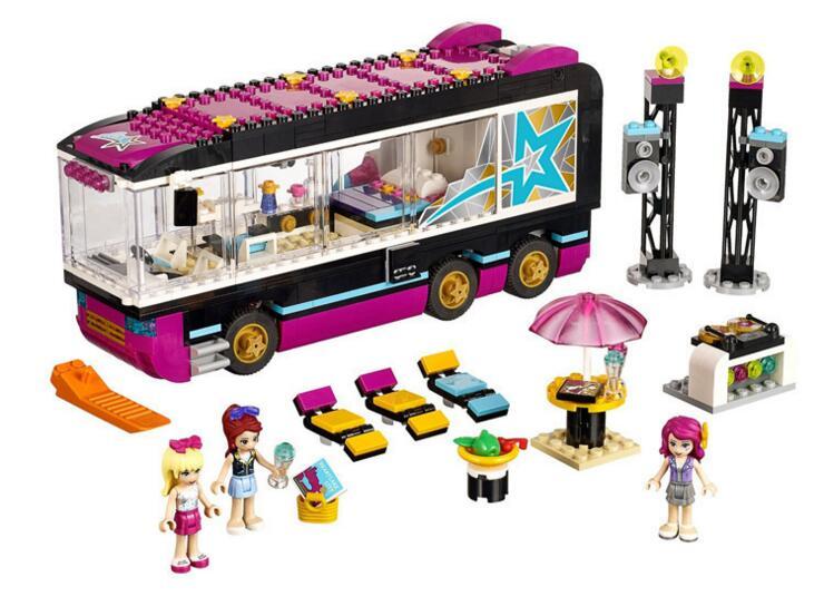 ФОТО 2016 New Friends series Pop Star Tour Bus model building blocks 684pcs bricks assembling toy gift 10407