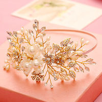 Schönheit Handmade Hochzeit Braut Stirnband Perle Kristall Strass Blume Tiara Haarband Pageant Prom Haarteil Zubehör