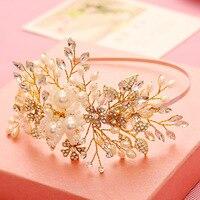 Uroda Handmade Wedding Bridal Opaska Perły Kryształ Rhinestone Flower Tiara Korowód Prom Kawałek Włosów Akcesoria Do Włosów
