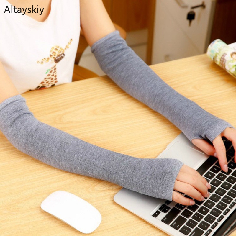 Arm Warmers Women Cashmere Striped Solid Warm Winter Long Finger-less Thicker Womens Sleeve All-match Leisure Trendy Chic Kawaii