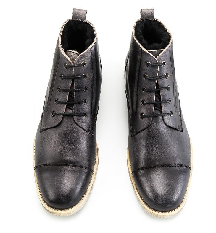 9f0509671e KRUSDAN Autumn Winter Men Shoes Boots lace-up Genuine Leather Plus velvet  men Martin boots Vintage Handmade outdoor men boots