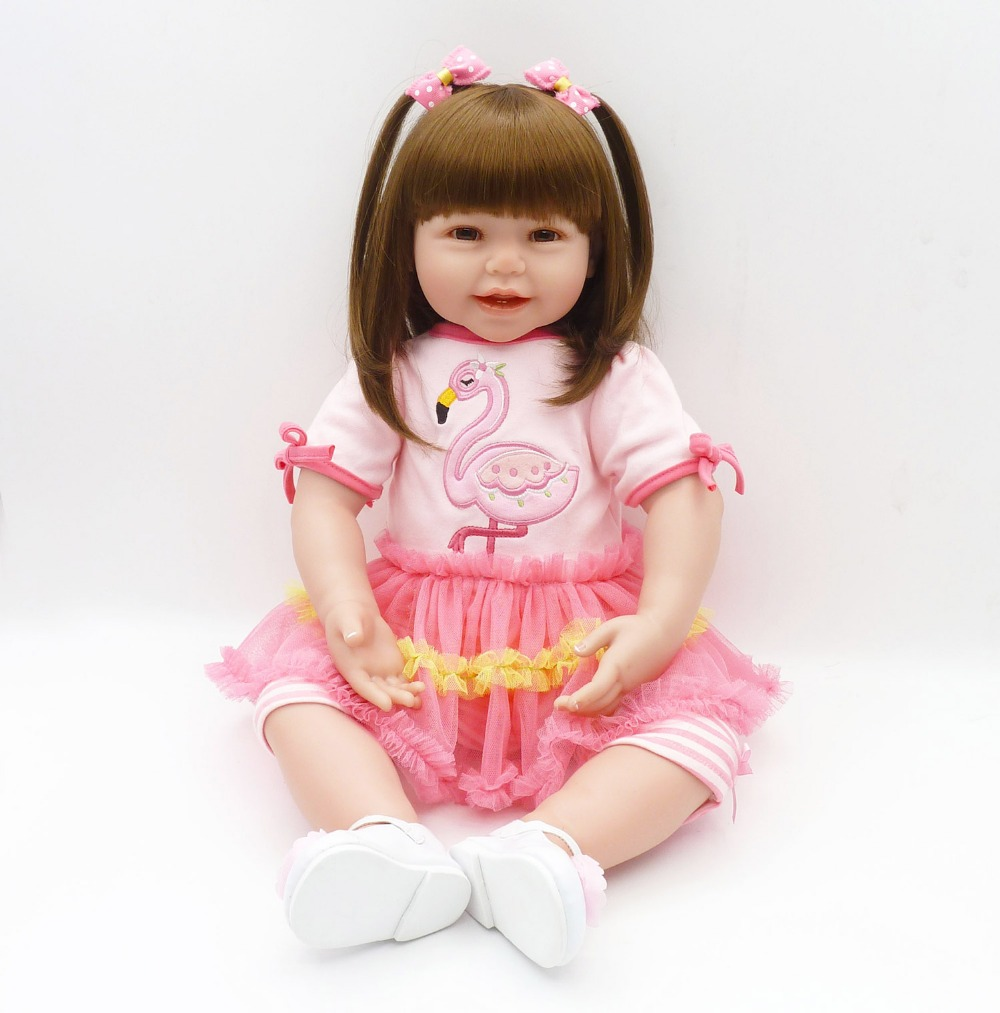 Beautiful Pink Duck Dress Realistic Silicone Reborn Toddler Princess Girl Doll Soft Cotton Body Silicone Toddler Baby Doll Gifts