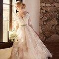 Элегантный Розовый-Line V-образным Вырезом Свадебное Платье Аппликации С Длинным Рукавом Hi-Lo Tull Свадебное Платье С Бисером Кушак Vestido Де Noiva WA83