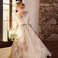 Elegant Pink A-Line V-Neck Wedding Dress Appliques Long Sleeve Hi-Lo Tull Wedding Gown With Bead Sash Vestido De Noiva WA83