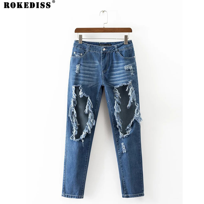 ROKEDISS Fashion Casual Women Brand Vintage High Waist Denim Jeans Slim Jeans Hole Pants Female Sexy Girls Trousers X124 2017 new jeans women spring pants high waist thin slim elastic waist pencil pants fashion denim trousers 3 color plus size