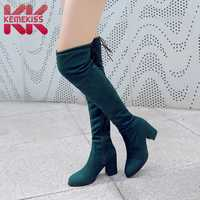 KemeKiss Plus Size 32-48 Women Over The Knee Boots Lace Up Sexy High Heels Women Shoes Solid Color Winter Zipper Warm Boots