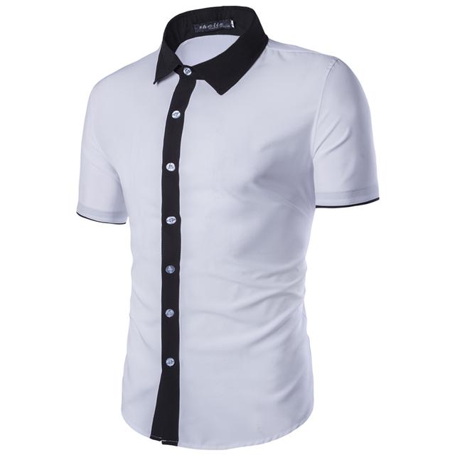 Verão Mens Black White manga curta camisas de vestido homens moda cor sólida casuais Camisa dos homens Slim Fit camisas sociais ZC411