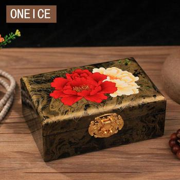 Jewelry Storage Box Hand-painted Wooden Push Lacquer Ware Wedding Gift With Lock Solid Wood Storage Christmas Home decoration