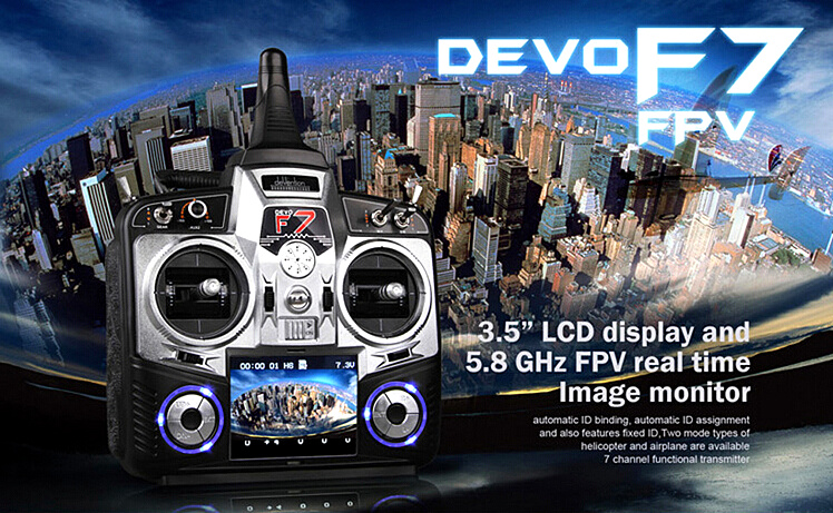 Walkera Devo F7 7 Channel LCD Display FPV Camera Transmitter Devo F7+ RX701 Receiver + 7.4V 800mah Battery walkera aluminum case for devo f12e fpv radio 5 8ghz transmitter silver