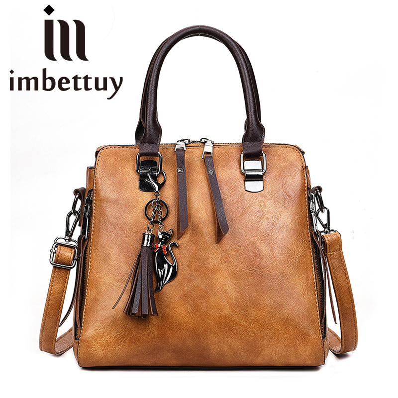 Imbettuy Brown Pink purple Handbag Women Big Totes Shoulder Crossbody Bags Ladies Classic PU Leather Bucket Bag Brand Design lignt brown stitching design crossbody bags