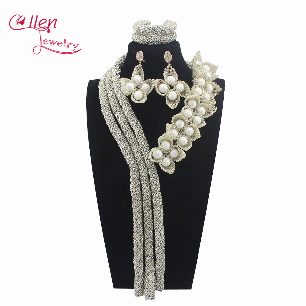 Romantic Luxury African beads jewelry sets india nigerian flower beads beaded wedding bridal necklace dubai jewelry sets W13935 цена