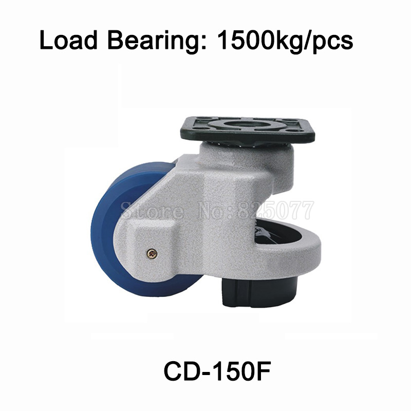 4PCS CD-150F Level Adjustment Nylon Wheel and Aluminum Pad Leveling Caster Industrial Casters Load Bearing 1500kg/pcs JF1519 new 5 swivel wheels caster m12 industrial castor universal wheel nylon rolling medical heavy casters double bearing wheel